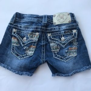 Miss Me size 23 booty shorts bling blue